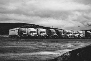 parked trucks under clouds 2348359